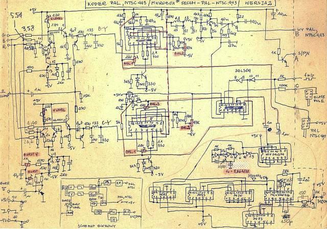 Schemat ideowy - koder PAL/NTSC 4.43 MHz - 1984, Elboxrf