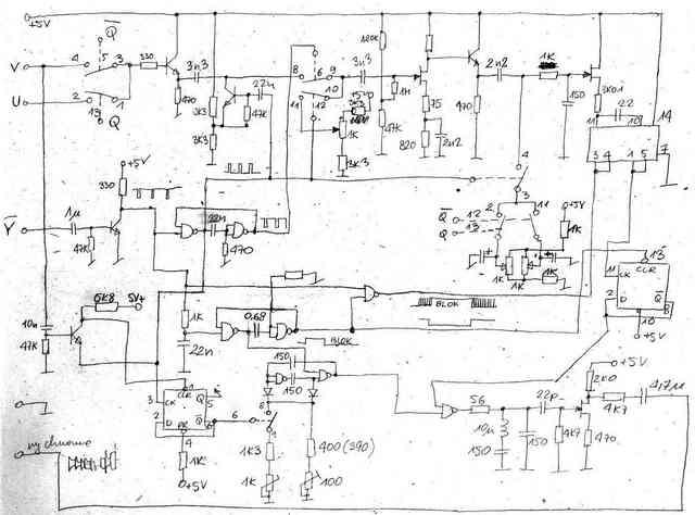 Schemat ideowy - koder SECAM do mikrokomputerów SINCLAIR - 1985, Elboxrf