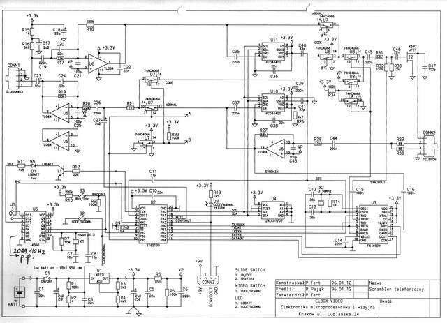 The schematic diagram of the full duplex telephone voice scrambler - 1994, Elboxrf