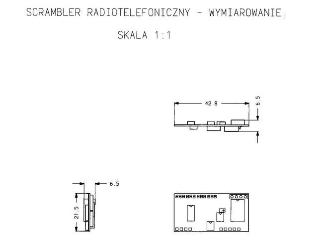 Wymiary zewnętrzne skramblera - radiotelefoniczny koder mowy - 1994, Elboxrf