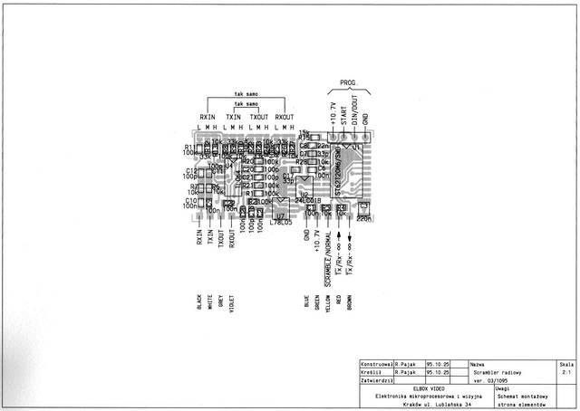 Widok montażowy skramblera głosowego - radiotelefoniczny koder mowy - 1994, Elboxrf