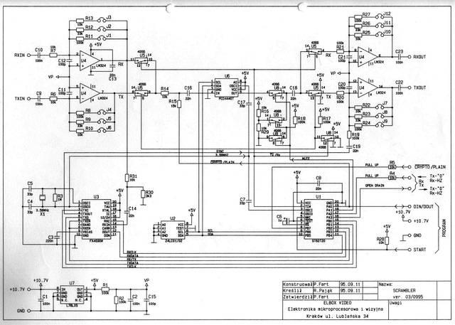 Schemat ideowy skramblera głosowego - radiotelefoniczny koder mowy - 1994, Elboxrf